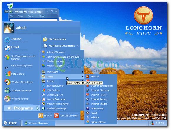 롱혼 프로그램 메뉴 화면